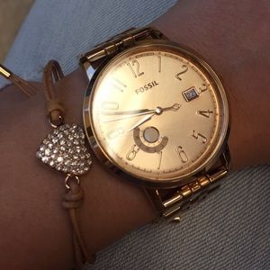 Fossil Rose tone watch and bracelet bundle